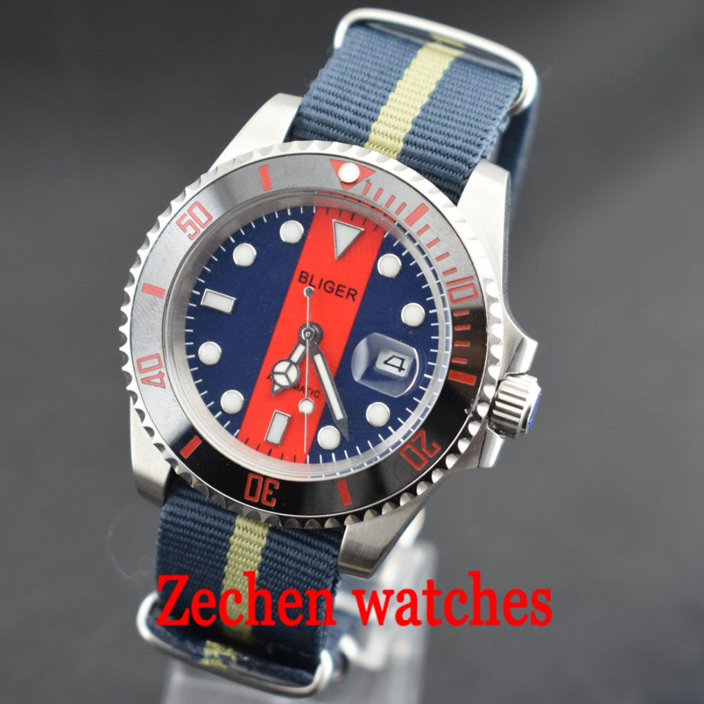 BLIGER 40mm mens watch Ceramic Bezel Luminous sapphire automatic Date Day blue red dial Nylon strap watch цена и фото