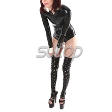 Suitop latex catsuit sexy latex stockings sexy rubber fetish briefs with zipped Shirt