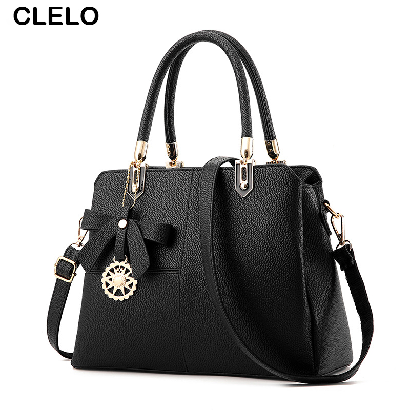 ФОТО CLELO Women Handbag High Quality PU Patchwork Women Messenger Bags Bow Decoration Shoulder Crossbody Bags For Female Ladies