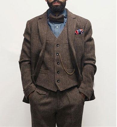 Wedding-Dress Jacket Vest Groom Classic Herringbone-Pattern Dark-Brown Retro Men's Winter