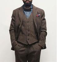 Dark brown men's winter retro men's groom wedding dress classic herringbone pattern tweed 3 pieces (jacket + vest + pants)