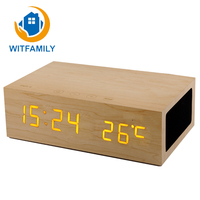 Creative Home Decoration Multi-functional LED Wood Alarm Clock Audio Luminous Electronic Thermometer Phone Bluetooth Speaker