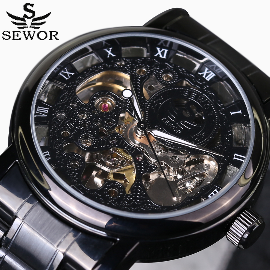SEWOR Luxury Top Brand Men's Sports Military Watches Automatic Mechanical Watch Stainless Steel Skeleton Wrist Watches 2016 New sewor new arrival luxury brand men watches men s casual automatic mechanical watches diamonds hour stainless steel sports watch