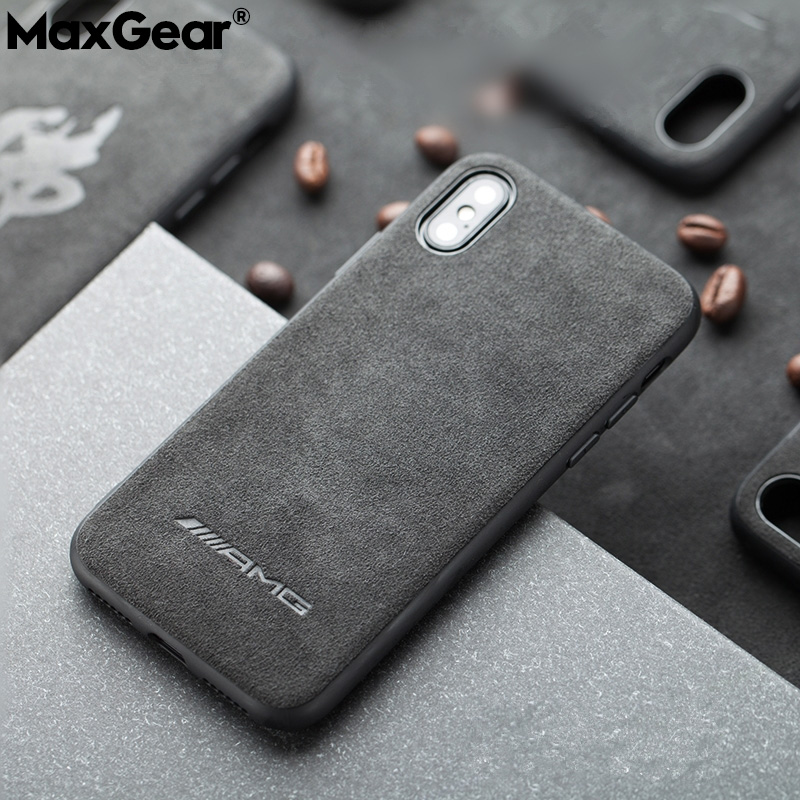 Motorsport AMG Gran Turismo GTR Suede Fur Soft Cover Case For iPhone 6 6S 7 8 plus X XR XS MAX Luxury Car Leather Case(China)