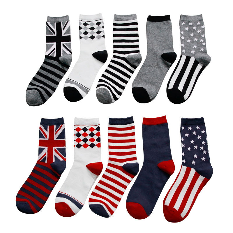 5 Pairs Men Socks Personality Fashion Colorful Flag Pattern Short Socks Suit For All Season Durable Male Sock Meias Size 39-44