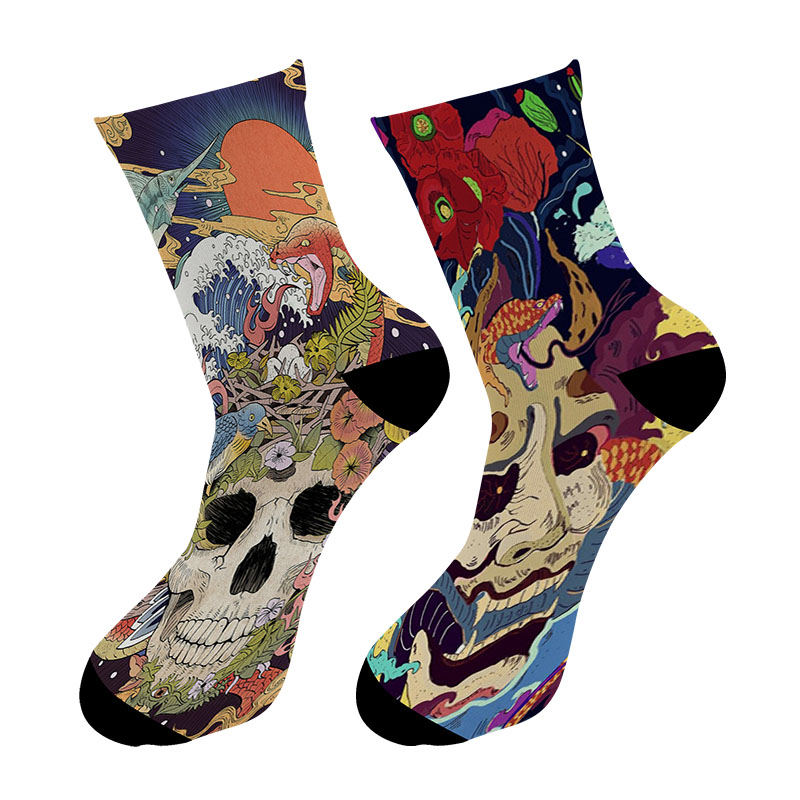 New 3D Printed Japanese Ukiyoe Paint Crew   Socks   Men ZJapanese Face Mask Long   Socks   Sugar Skull Japanese Men's Dress Tube   Socks
