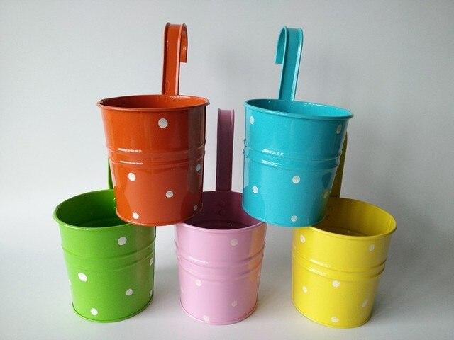 10Pcs/Lot Wholesale Hanging Garden Buckets Balcony Iron Flower Pot Metal  Planter Dot Design Colorful