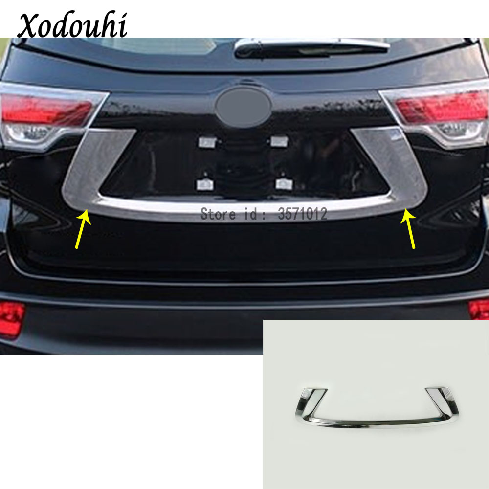 For Toyota Highlander 2015 2016 2017 Car styling stick ABS Rear back License Plate Trunk Lid Cover tailgate bumper frame trim for highlander trim a