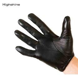 Männer Echte Leder Handschuhe mode klassische kurze handgelenk Echt Schaffell Schwarz Touch Screen Handschuhe Marke Winter Warme Handschuhe