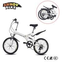 6 Скорость Регулируемая велосипед 20 дюймов дорожный мотоцикл мужские и женские Велосипеды Высокоуглеродистая сталь складной MTB велосипед
