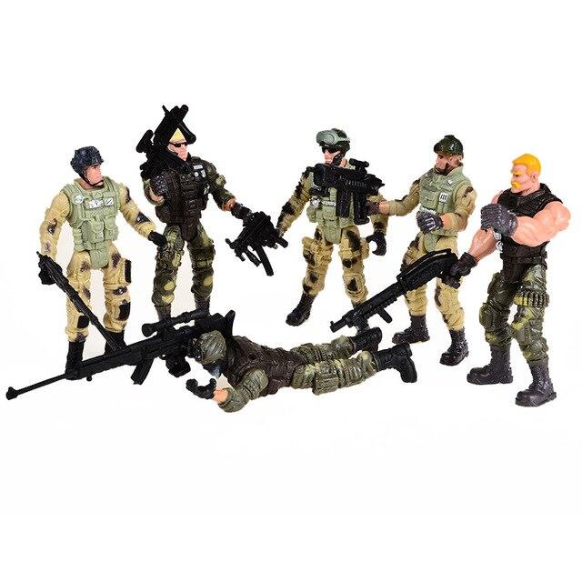Privates 6 pcs Americano Modernos Modelos de Soldados de Brinquedo Com Joint Movable Com Armas