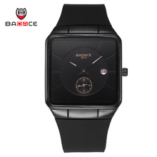 BADACE Luxury Brand Men Watch Square Waterproof Military Sport Wristwatch Leisure Silicone Quartz Watch with Calendar 5010