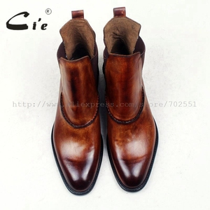 Image 4 - cie round plain toe100%genuine calf leather boot patina brown handmade outsole leather men boot casual mens ankle boot  A94
