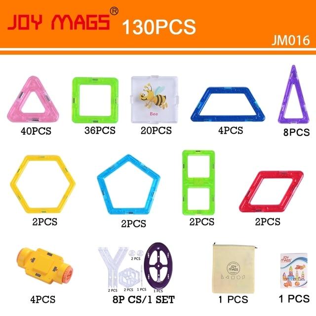 JOY MAGS Toy Mini Magnetic 110/130 Pieces/lot Construction Building Blocks Toys DIY 3D Magnetic Designer Educational Bricks