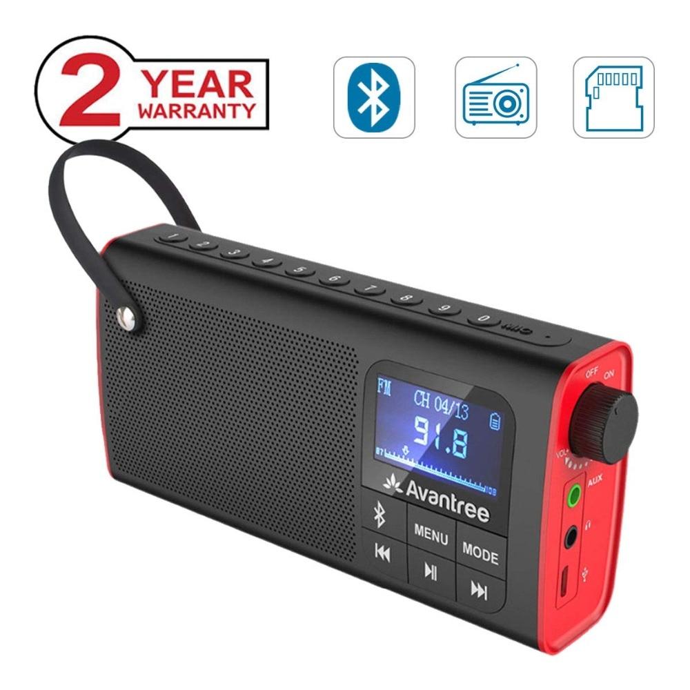 Radio FM Portable 3-en-1 Avantree avec haut-parleur Bluetooth et lecteur de carte SD, sauvegarde automatique, affichage de LED, haut-parleur sans fil