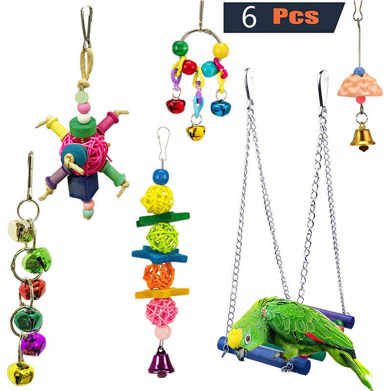 Pet Parrot Bite Toy Set Pet Bird Combination Toys Suspension Bridge Bell And Rattan String Birdcage Accessories Parrot Supplies