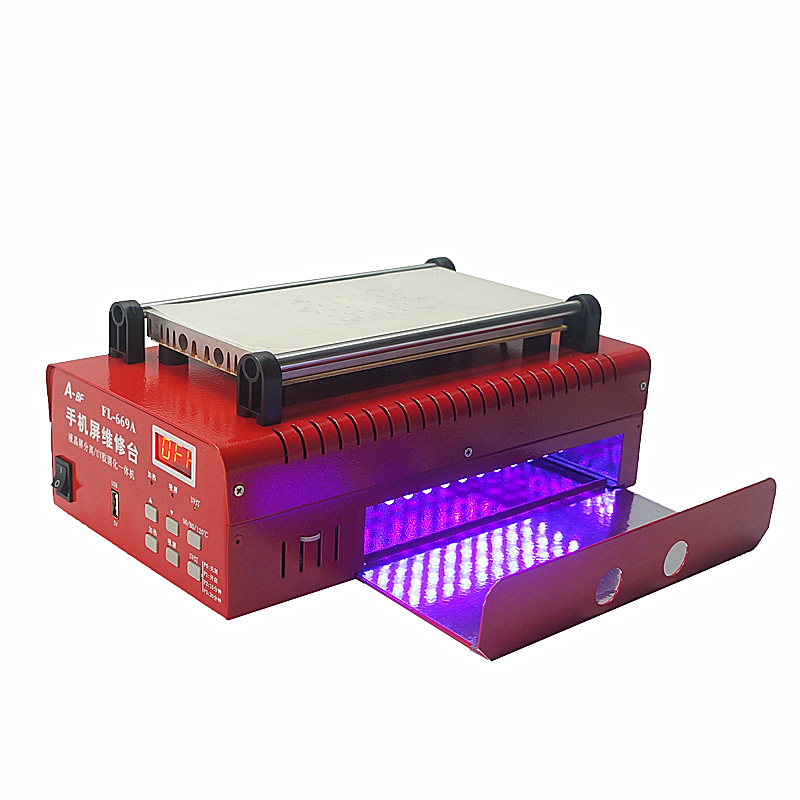 FL669A LCD separator machine for 8 inch mobile screens phone repair with built in vacuum pump and curing drawer 300W 8 inch lcd separator ly 947 v 3 pro inner vacuum pump built in uv solid light for all phone