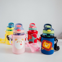 480ml Hiking Camping Pplastic Water Kettle Eco  Creative Leak-proof Straw Bottle Children Sports bottles With Protective Case