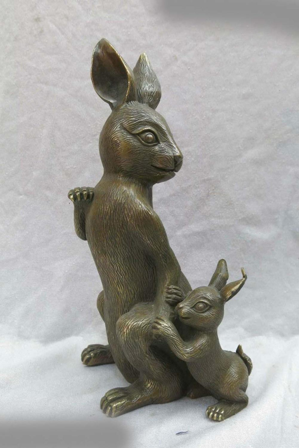 """DS 12"""" China brass copper carved beautiful rabbit mother and son Sculpture Statue