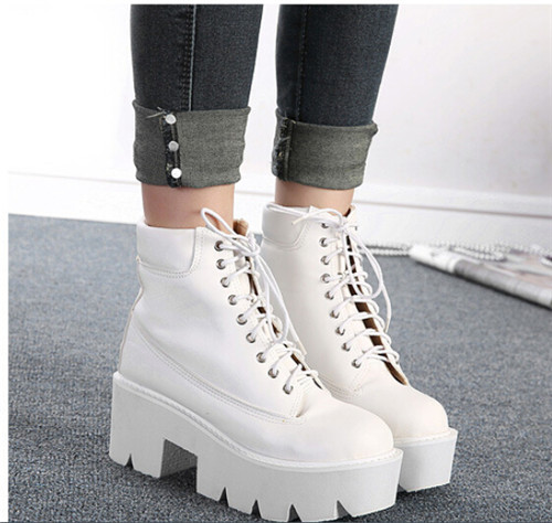 238677fed0ce PXELENA Punk Gothic women Ankle Boots Lace up Chunky Block Square High Heel  platform Creeper round toe Fashion Ankle Boots shoes-in Ankle Boots from  Shoes ...