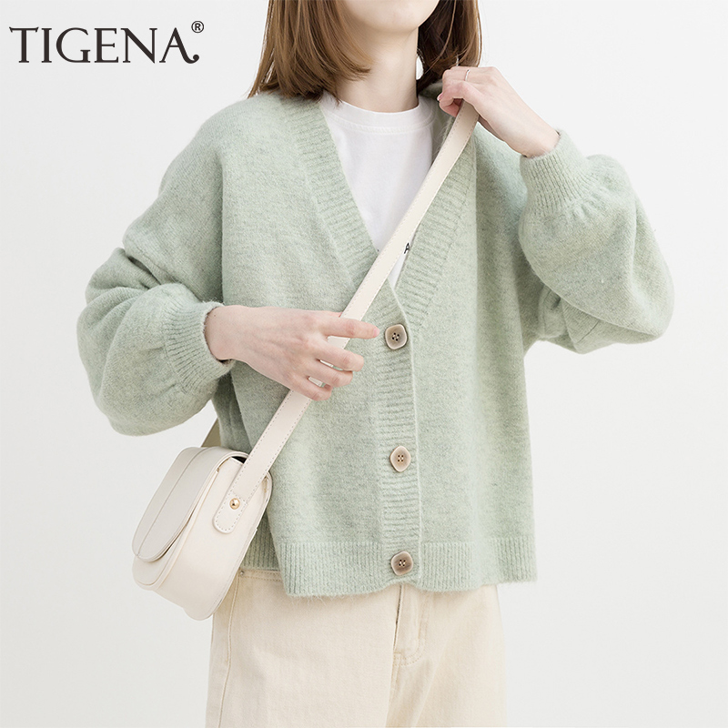 TIGENA Green Pink Yellow Short Cardigan Women 2019 Autumn Single Breasted Long Sleeve Loose Caridgan Female Knitted Jacket Women