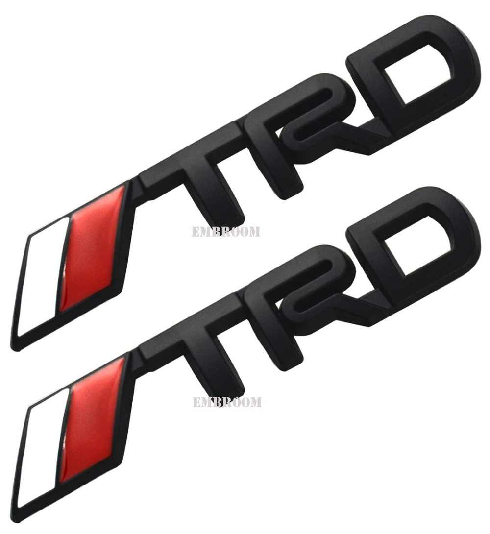 2pcs trd emblems 3d plastic logo stickers decals badge for fj cruisersupercharger tacoma