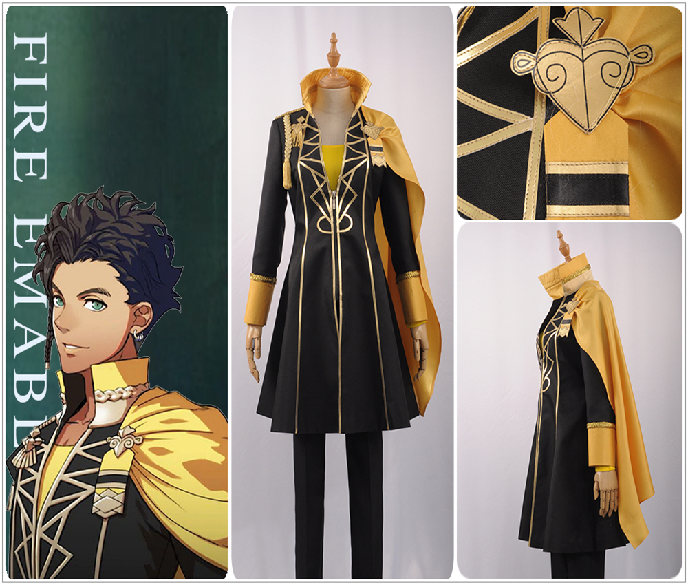 Fire Emblem Three Houses Claude von Regan Cosplay Costume Custom Cool Black Trench Pants Yellow Cloak