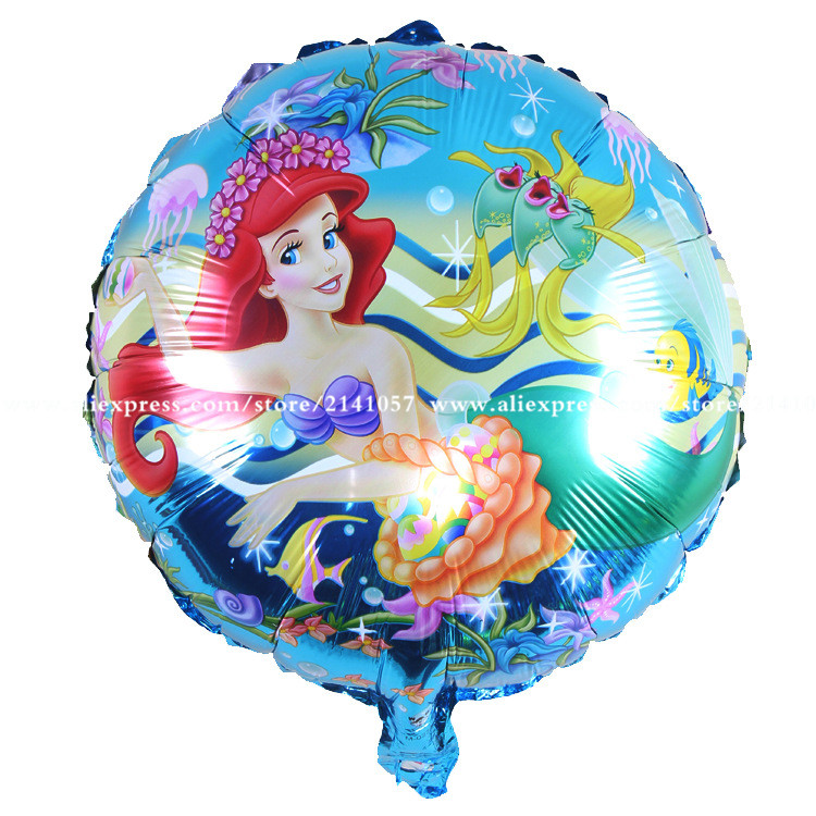 50pcs/lot foil balloons printed cartoon  princess Ariel birthday balloons girl b