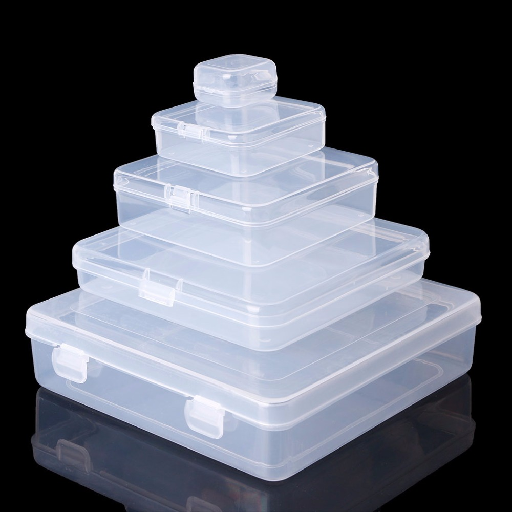 Square Transparent Plastic Jewelry Storage Boxes Beads Crafts Case Containers W215