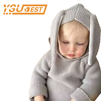 1 5yrs Boys Girls Baby Fall Sweater Knit Clothing 2017 Spring Rabbit Style Long Ear Hooded