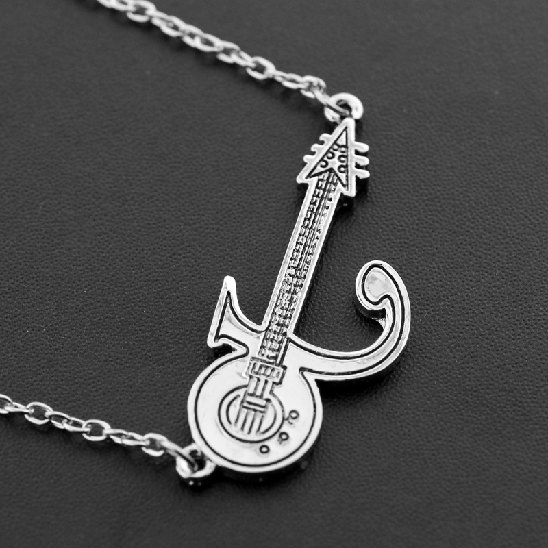 Punk Prince Love Symbol Necklace Guitar Silver Color Prince Purple