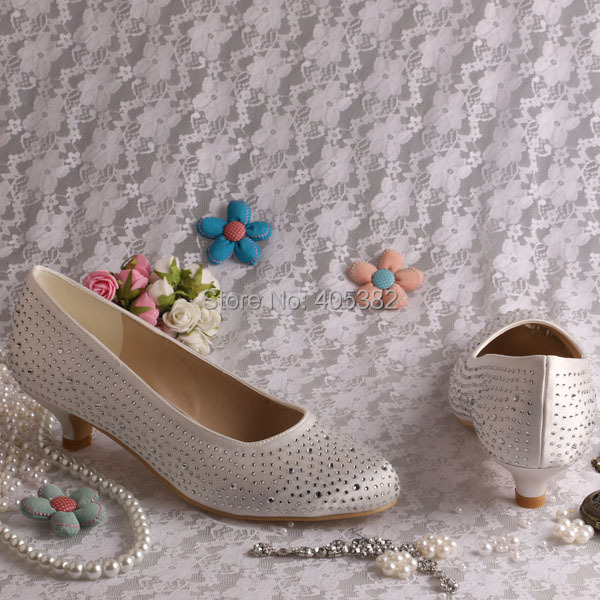 1dc1044e75f (20 Colors)Custom Low Heel Closed Toe Women Wedding Shoes Cream Satin with Small  Beads Dropshipping-in Women s Pumps from Shoes on Aliexpress.com