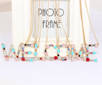 Wholesale Gold 26 Alphabet Letter Necklace Crystal Multicolor Charm Pendant Chain for Mother Girlfriend Lover Gift