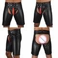 Новый Эксклюзивный Сексуальный Мужской Черный Искусственной Кожи Латекс Брюки Короткие Боксер Wetlook Клубная Одежда Молния Фетиш Гей Jockstrap Мужчины Underwear