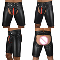 New exclusive sexy masculino de couro preto faux calças de látex curto boxer wetlook clubwear zipper fetiche gay men underwear jockstrap