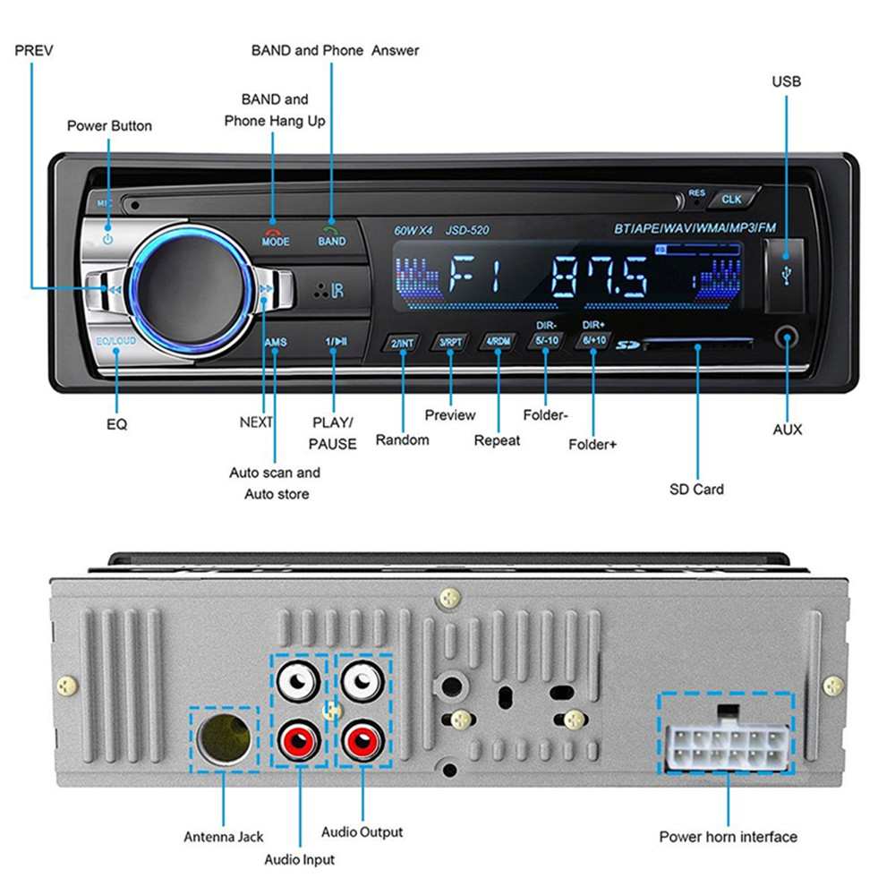 Image 2 - 1PC Car Stereo Bluetooth Autoradio 1 din 60Wx4 Support Hands free calls Car Radio Receiver MP3 Player/USB/SD Card/AUX/FM Radio-in Car Radios from Automobiles & Motorcycles