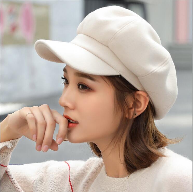 oZyc wool  Women Beret Autumn Winter Octagonal Cap Hats Stylish Artist Painter Newsboy Caps Black Grey Beret Hats 3