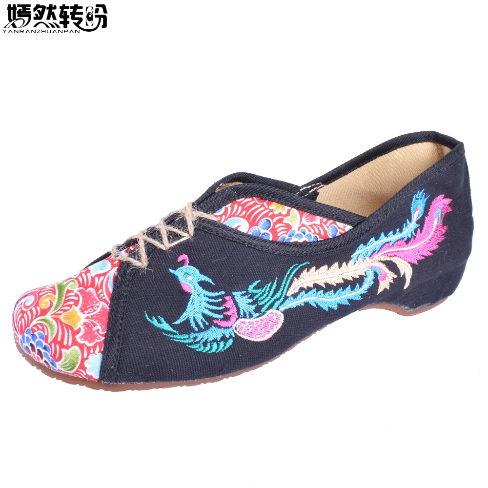 Vintage Embroidered Women Flats Shoes Phoenix Embroidered Comfortable Canvas Old Peking Cloth Slip On Dance Single Ballet Flat peacock embroidery women shoes old peking mary jane flat heel denim flats soft sole women dance casual shoes height increase