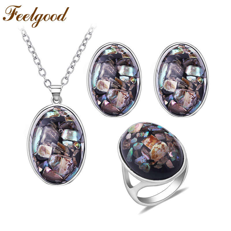 Feelgood Vintage Fashion Jewelry Set Oval Shell Pendant Necklace And Stud Earrings Ring Sets Trendy Women Jewellery Party Gift