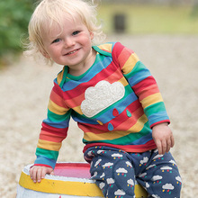 Children's Color Striped Long Sleeve T-Shirt Black Cloud Print Long Girls Clothing Shirt  Toddler T Shirt Boys Outdoor Clothing