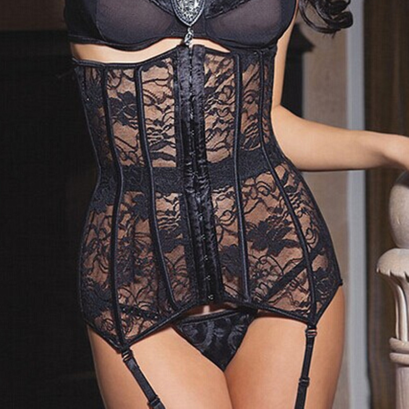 Hot Sexy Corselet Latex Waist Corsets Cincher Women Black Floral Lace Sexy Underbust Corset Bustier Gothic