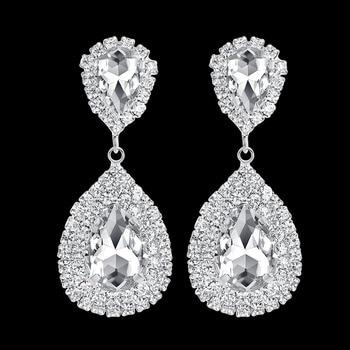 Mecresh Clear Crystal Long Drop Earrings 6 Colors Teardrop Bridal Party Wedding Jewelry for Women EH003