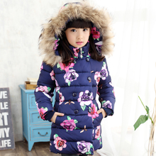 2018 Winter Children Jackets For Girls Floral Printed Kids Parka Coats Fur collar Warm Girls Long Outerwear 4 6 8 10 12 13 Years reima jackets 8689577 for girls polyester winter fur clothes girl