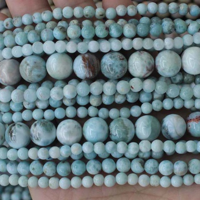 7 10mm Natural Light Blue Larimar Gem Stone Beads Round Loose DIY Beads For Jewelry Making Beads Accessories 15 Women Men Gift