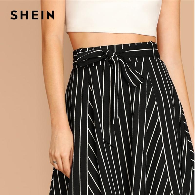 SHEIN Boho Black and White High Waist Striped Belted Shift A Line Skirt Womens 2019 Spring Elegant Casual Streetwear Midi Skirt
