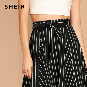 Image 5 - SHEIN Boho Black and White High Waist Striped Belted Shift A Line Skirt Womens 2019 Spring Elegant Casual Streetwear Midi Skirt