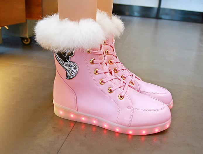 BEEDPAN Brand Luminous cony hair snow boots sneakers Girls 2017 Autumn Winter high-top USB Charging LED Lighted casual shoes женские кеды adv nce outlets 2015 usb zapatos led lighted shoes