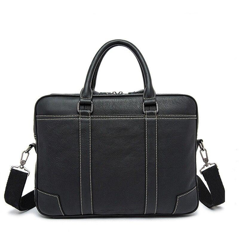 Genuine Leather Men Handbag Bolso Ordenador Solid Leather Laptop Computer Bag Business Men Cowhide Shoulder Bag Bolso Hombre
