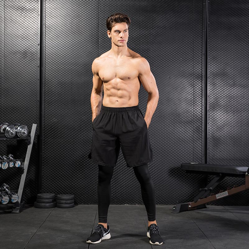 Fake Two Piece Compression Pants Men Shorts And Leggings Sportswear Gym Fitness Tight Sports Trousers Quick Dry Mens Leggings