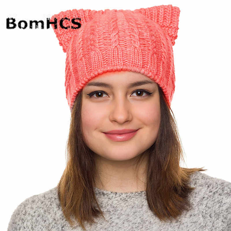 37fc6057e86c0e ... BomHCS Handmade Knitted Pussy Cat Hat Cats Ears Beanie Women Girls  Winter Thick Warm Caps ...